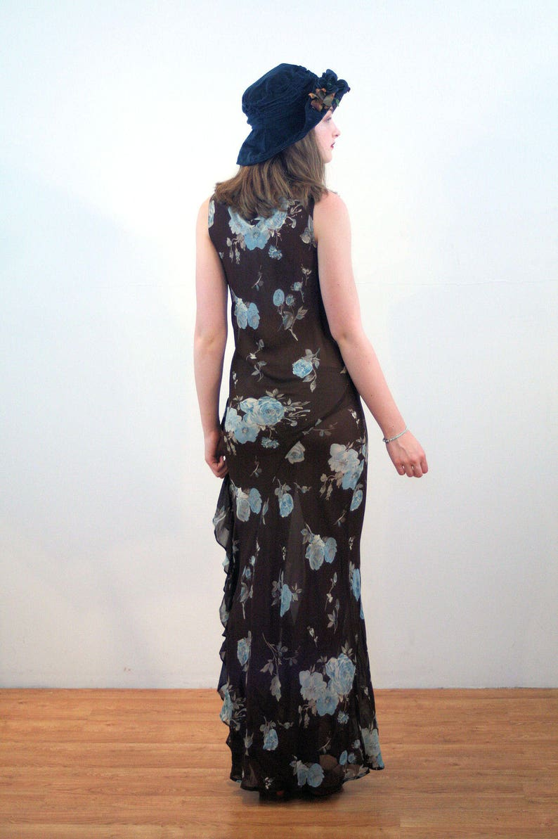 87884786273 90s Floral Dress S Brown Blue Roses Chiffon 1930s Style Bias