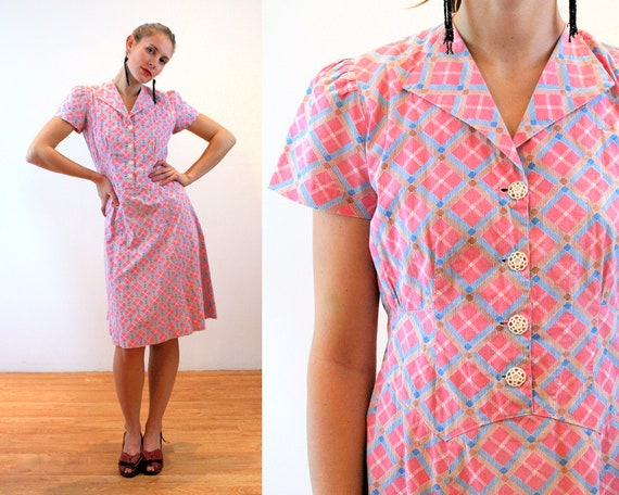 1930s Plaid Day Dress S M, 30s 40s Pink Blue Vinta