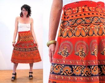 90s India Wrap Skirt M, Peacock Bird Print Cotton Hippie Coral Orange Batik Floral Paisley Boho Vintage Waist Ties, Medium