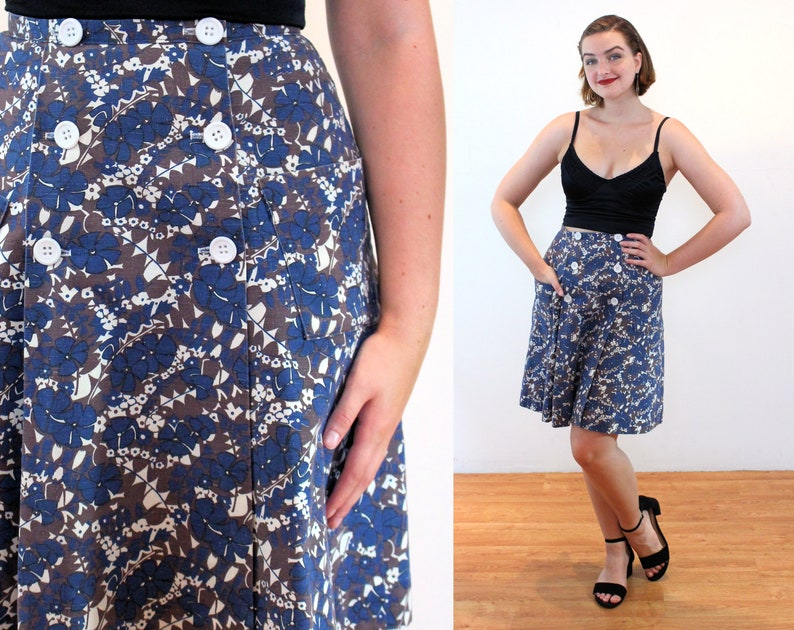 Brown Blue Hippie Floral Vintage Patch Pockets Scooter Mini Small Medium 60s Mod Wrap Front Skirt S M