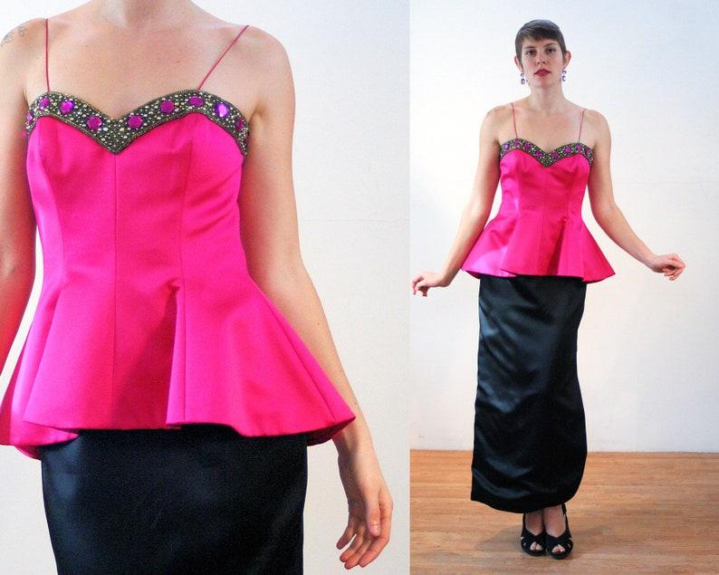 693e6894f661 90s Bill Blass Party Dress M Beaded Fuchsia Evening Gown Pink | Etsy