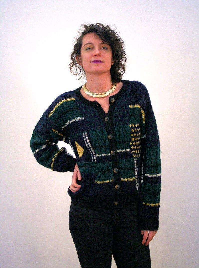 Vintage Uruguay Patterned Chunky Knit Navy Blue Dark Green Wool Sweater Medium 80s Patchwork Cardigan M