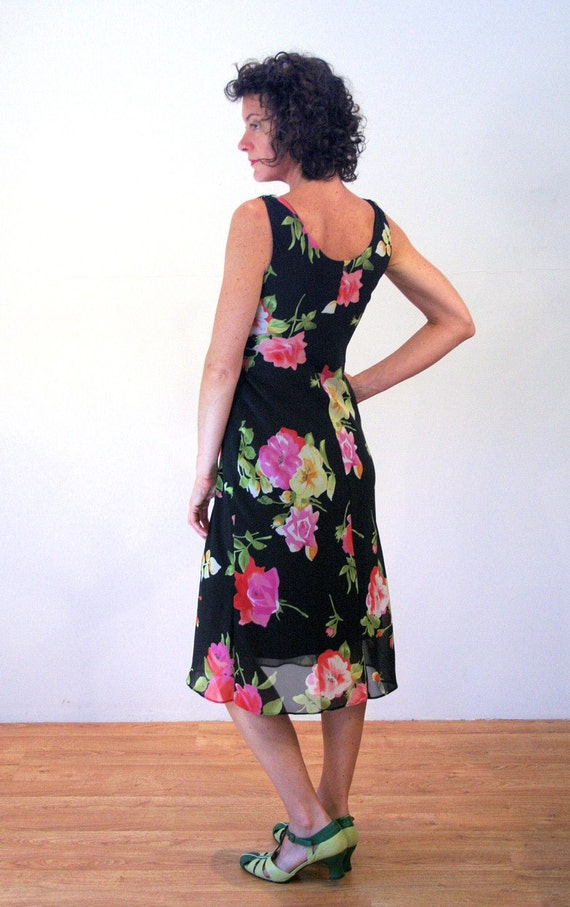 90s Rose Print Floral Dress S, Romantic Black Pin… - image 3