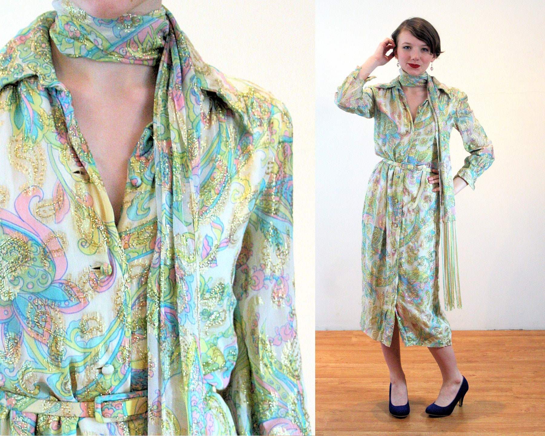 Vintage Scarf Styles -1920s to 1960s 60S Nat Kaplan Metallic Dress Xs, Mod Vintage Gold Floral Psychedelic Couture Belted Midi With Matching Scarf, Extra Small $58.00 AT vintagedancer.com