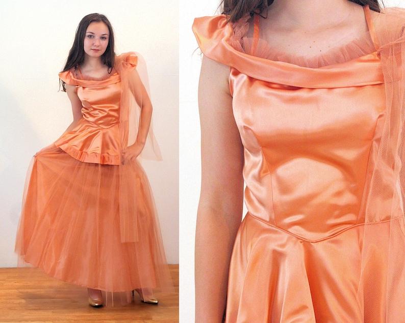 0d758381b9 40s Peach Satin Gown S Tulle Peplum 1940s Glam Long Vintage