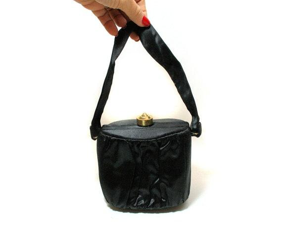 40s Black Silk Box Bag, Vintage 1940s Small Elegan
