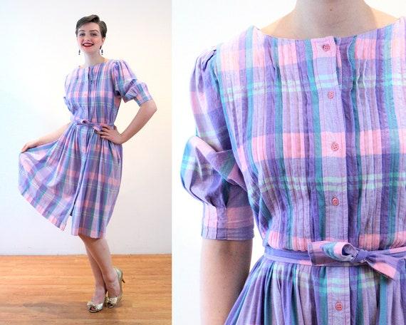 80s India Madras Dress M, Plaid Lavender Teal Cott