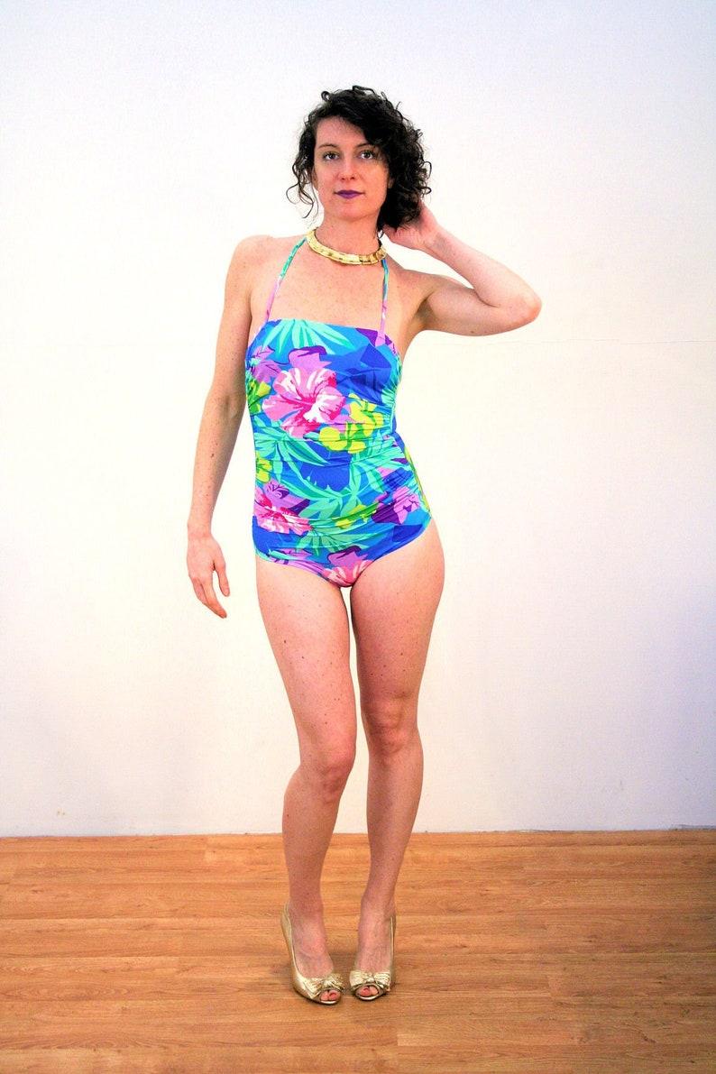 7545213c0f109 80s Floral Retro Halter Swimsuit S Vintage Tropical Summer | Etsy