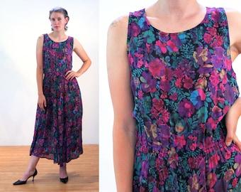 90s Floral Midi Dress M, India Purple Flower Print Sleeveless Sundress Vintage Boho Rayon Cotton Elastic Waist Pockets Bohemian, Medium