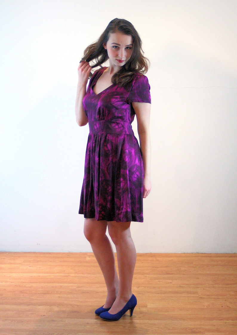 d2a5445d9d 90s Banana Republic Silk Dress M Purple Fuchsia Pink Marbled