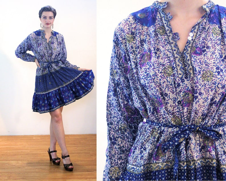 311310d392 60s Kaiser Dress M Vintage Pakistan Bohemian Blue Gold Floral