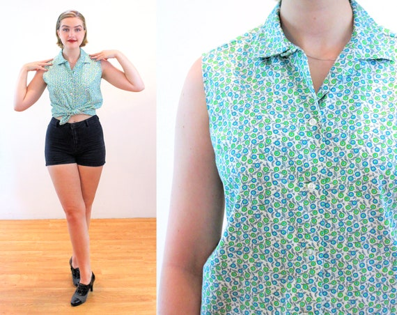 60s Ditsy Green Floral Top M, Vintage Rockabilly J