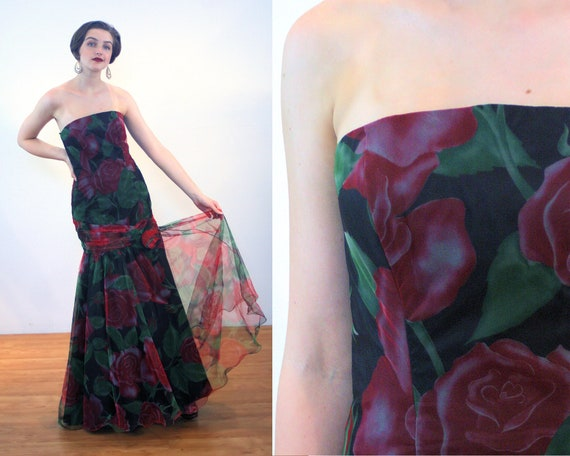 80s Strapless Floral Gown M, Elegant Rose Print Fo
