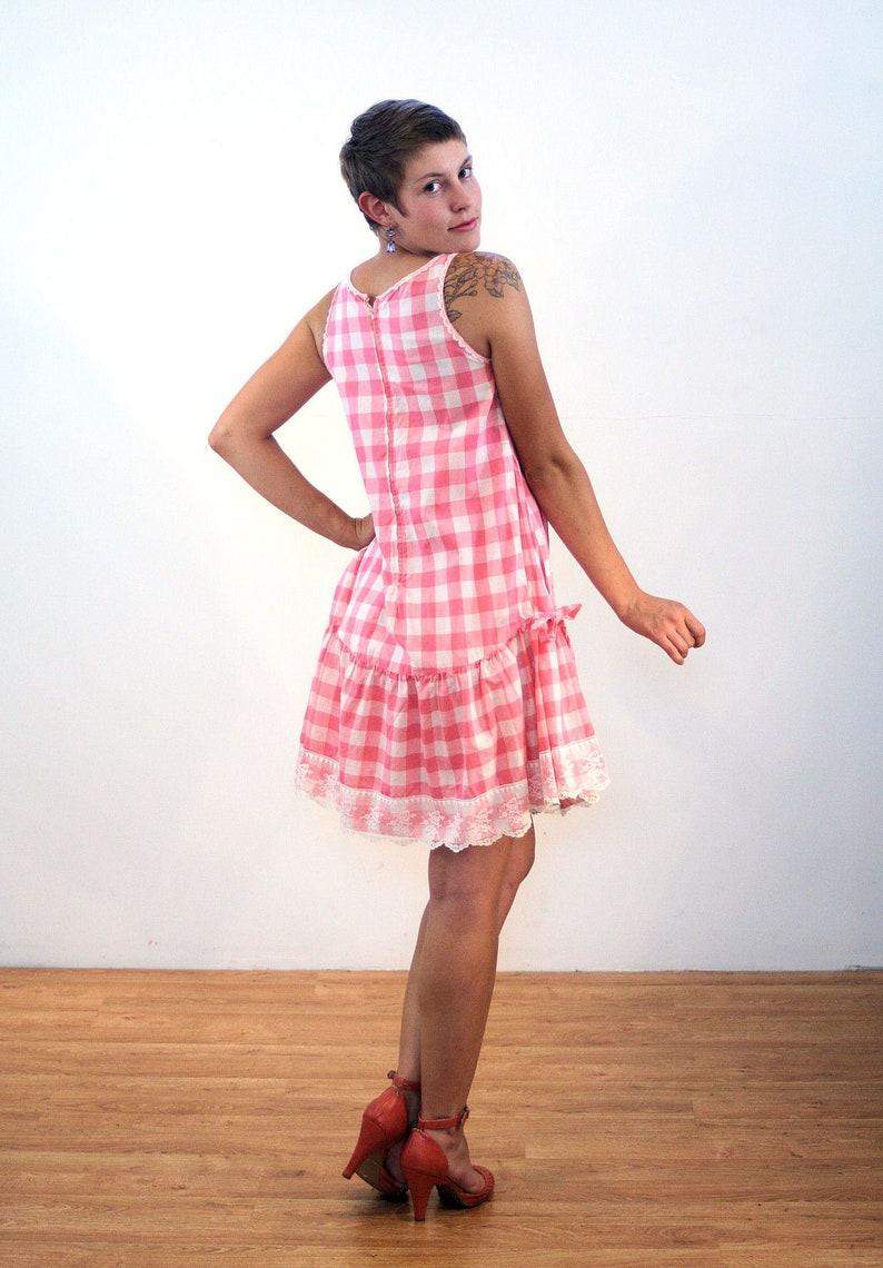 147ea62fd58 Des années 60 Vichy Rose Plaid robe M Lolita Dolly Vintage