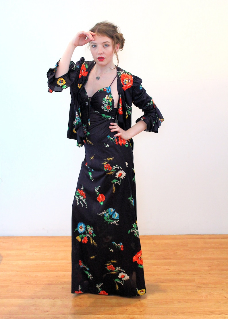 Strappy Bohemian Vintage Black Red Poppies Print Keyhole Bust Maxi 70s Floral Halter Dress /& Jacket Set XS Extra Small