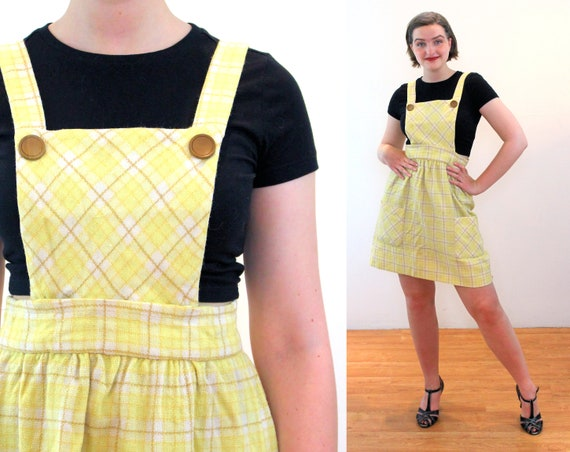 60s Pinafore Dress M, Yellow Plaid Wool Vintage Su