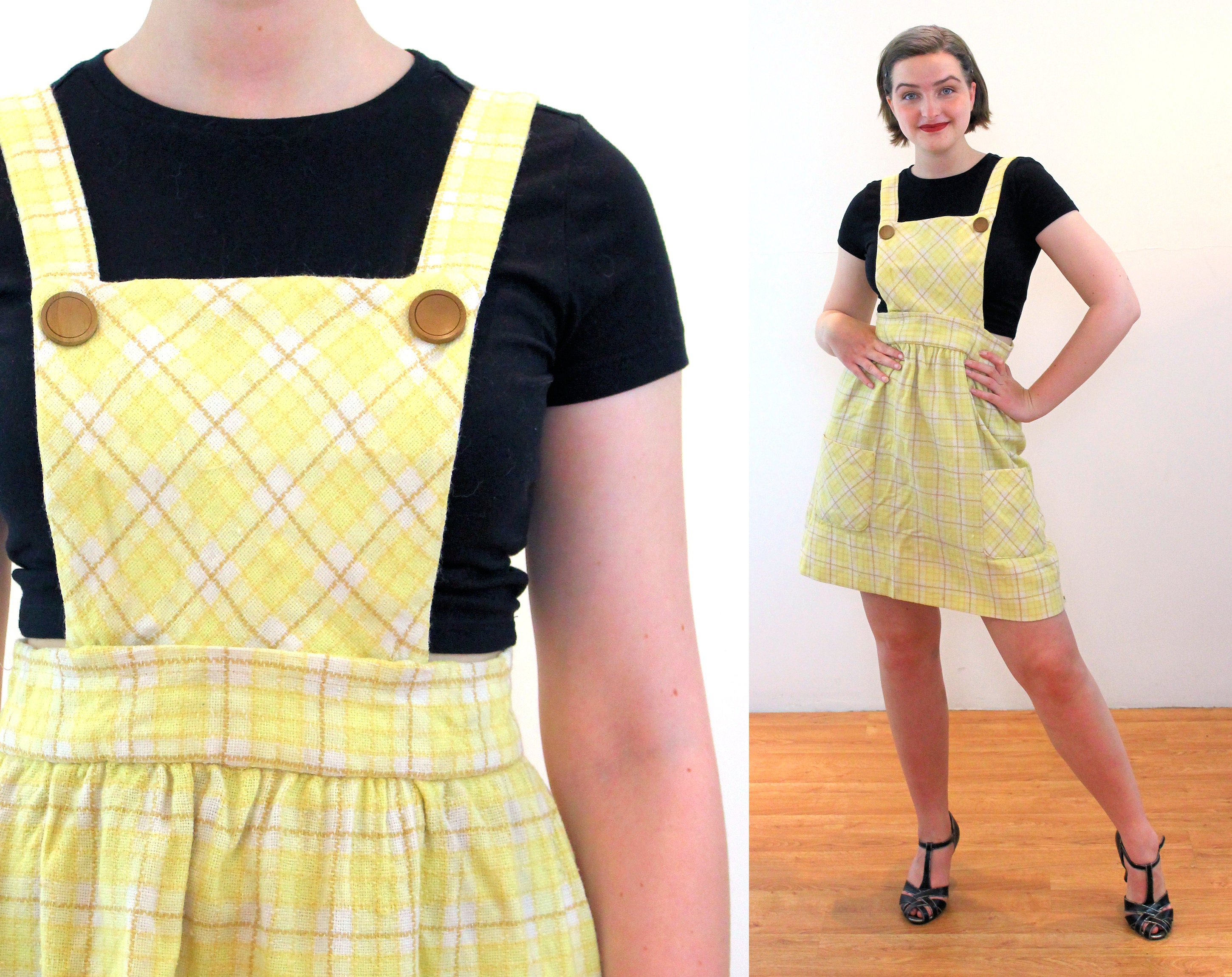 Vintage Aprons, Retro Aprons, Old Fashioned Aprons & Patterns 60S Plaid Pinafore Dress M, Yellow Wool Vintage Apron Suspenders Skirt With Pockets, Medium $59.00 AT vintagedancer.com