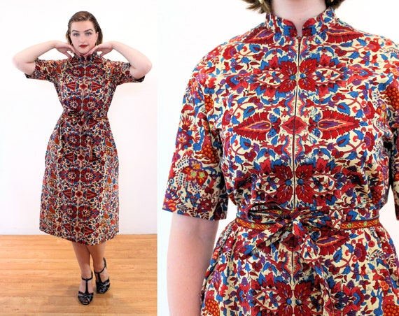60s Wild Animals Novelty Print Dress M, African Du