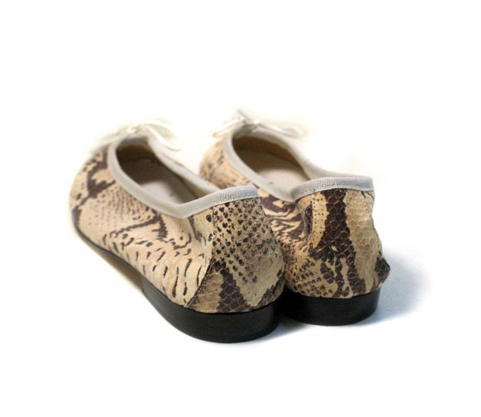90s snakeskin flats size 10, unworn vintage reptile clifford and wills snake leather tan brown italy ballet slip on shoes