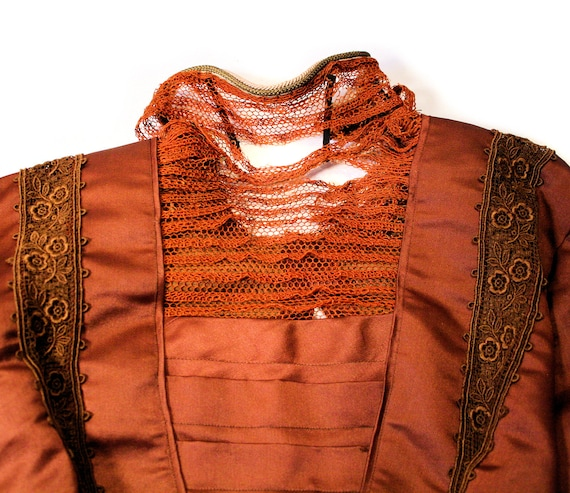 1890s Antique Victorian Dress S, Brown Copper Sil… - image 8