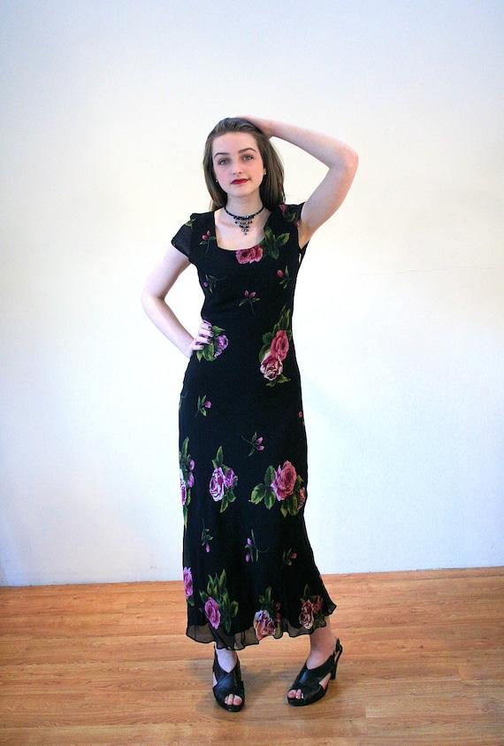 90s Black Floral Dress S, Rose Print 1930s Style V