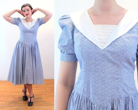 80s Sailor Dress S, Ditsy Blue Floral Cotton Puff