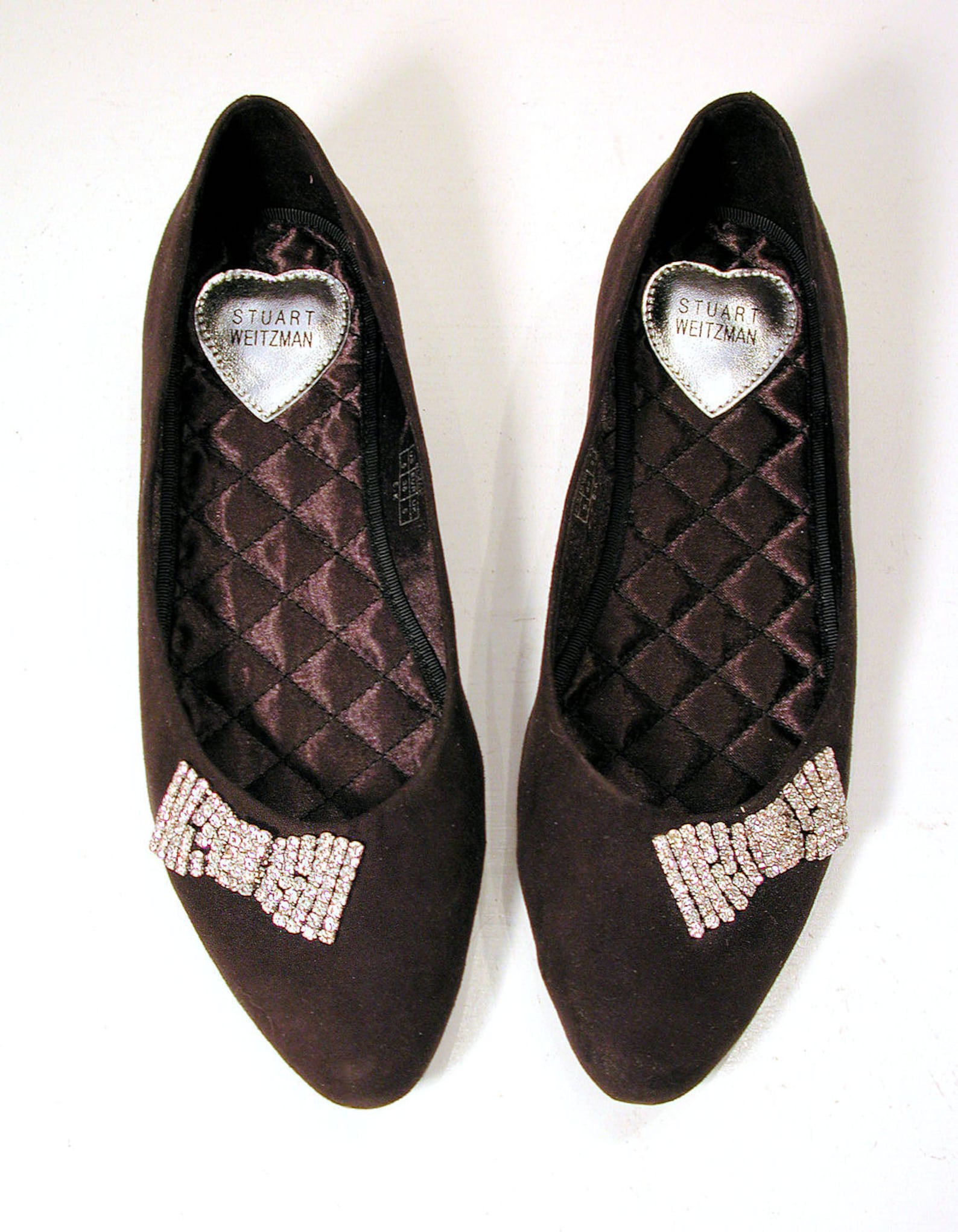 90s stuart weitzman flats size 5, black rhinestone bows designer ballet shoes microsuede metallic silver nos new old stock unwor
