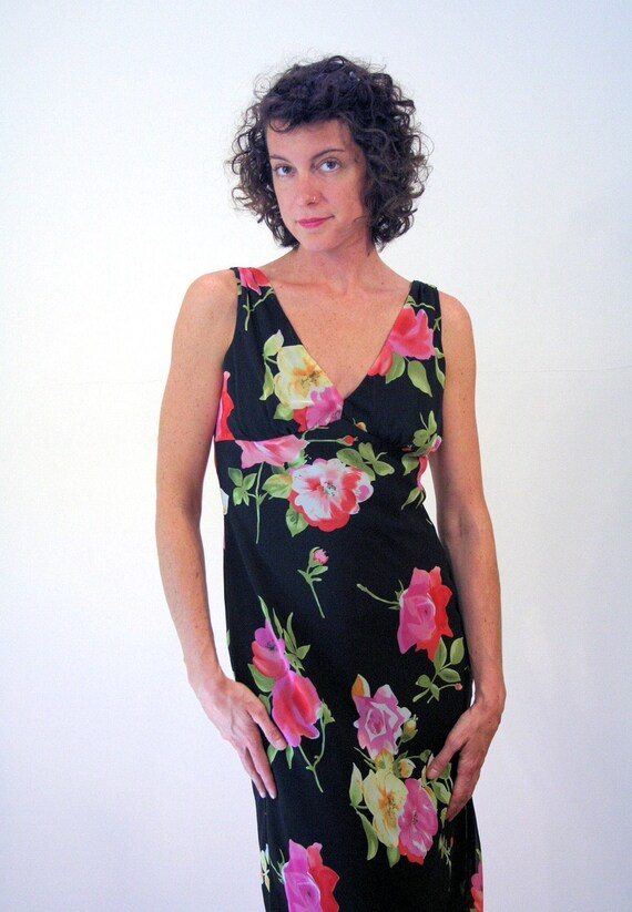 90s Rose Print Floral Dress S, Romantic Black Pin… - image 4
