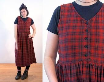 90s Woolrich Dress L, Red Plaid Cotton Heavy Flannel Grunge Tartan Pinafore Retro Sleeveless Midi Jumper, Large