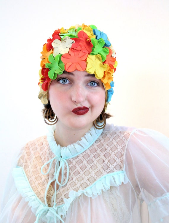 Y2K Retro Swim Cap, Rainbow Flower Petal Rubber Be