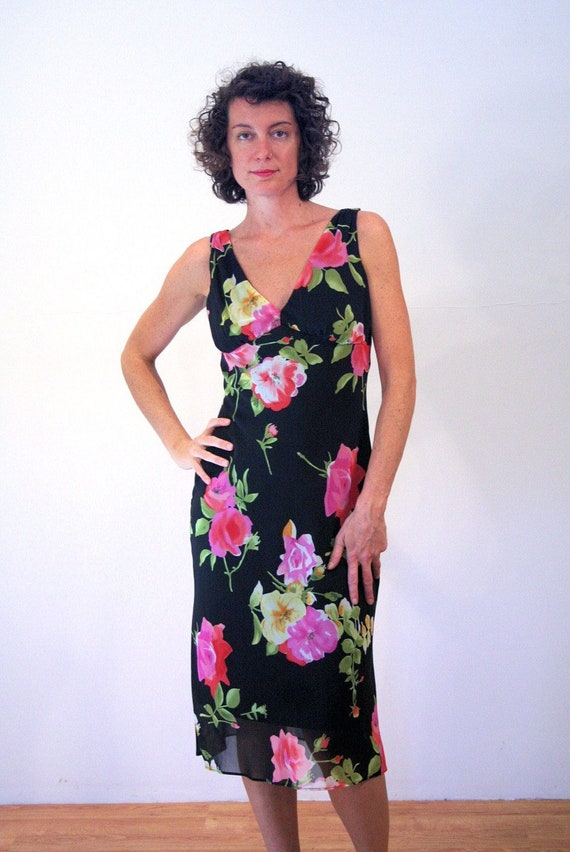 90s Rose Print Floral Dress S, Romantic Black Pin… - image 1