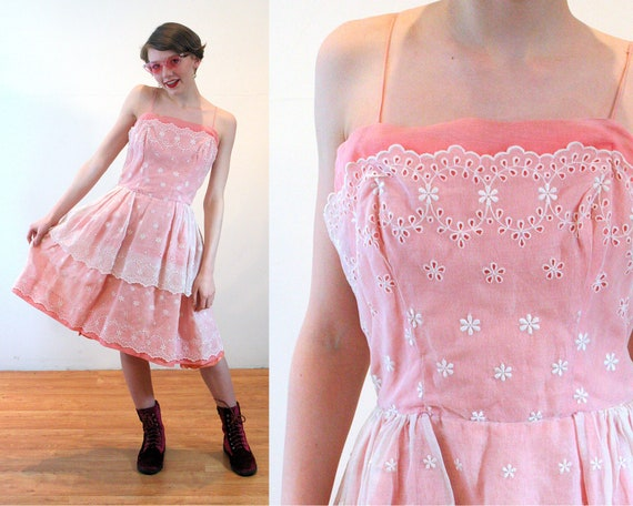 60s Pink Lace Party Dress XS, Vintage Eyelet Will