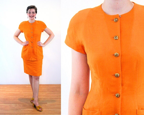 80s Nipon Orange Skirt Suit S, Bright Vintage Line
