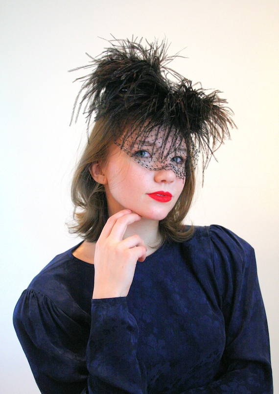 1940s Ostrich Feather Hat, Mr Henry Creations 40s