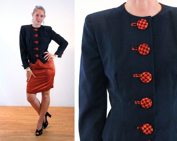 80s Ann Lawrence Couture Skirt Suit M, Designer Vi