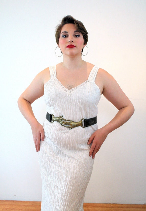 70s Clasping Hands Buckle Belt L XL, Rare Victoria