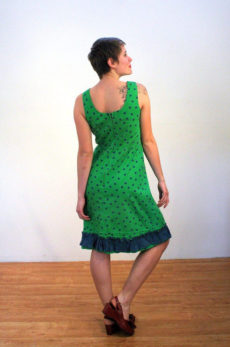 35d002722b9 70s Polka Dot Sundress M Kelly Green Navy Blue Dotted Vintage