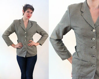 80s Rampage Jacket M, Houndstooth Vintage Buckles Tailored 40s Style Rayon Office Business Women's Retro Blazer, Medium