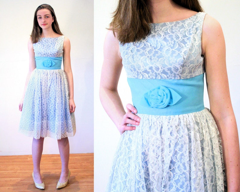 ebb6ae704 50s Lace Party Dress XS Vintage Fit and Flare Light Blue
