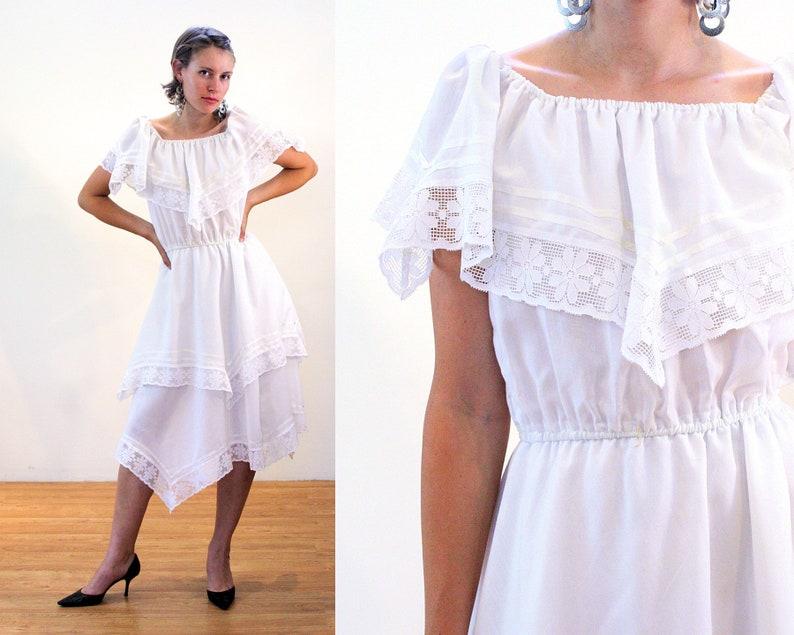 5736a624a25e 70s White Lace Dress S Boho Mexican Style Vintage Bohemian   Etsy