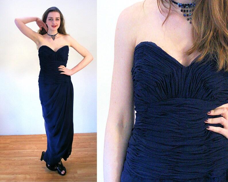 17a7c99dec 80 s Victor Costa robe XS robe bustier ruché bleu marine | Etsy