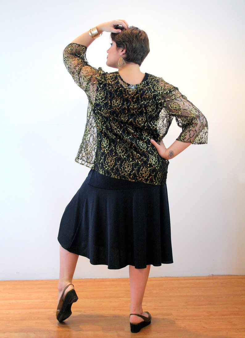 Extra Large Black Jersey Dress 80s Party Outfit XL Gold Metallic Lace Jacket Glam Vintage Holiday Cocktail Suit
