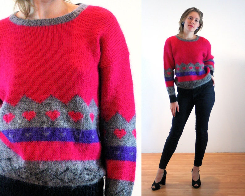 c3a9d8deda7a0d 80s Pink Mohair Sweater M Hearts Colorblock Vintage Soft   Etsy
