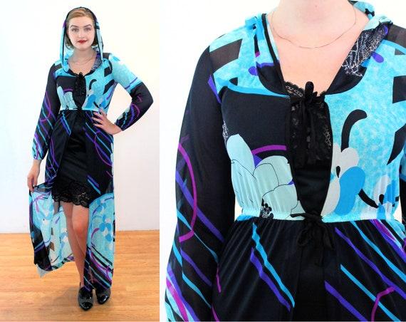 70s Elizabeth Stewart Swimwear Coverup S, Mod Vin… - image 1