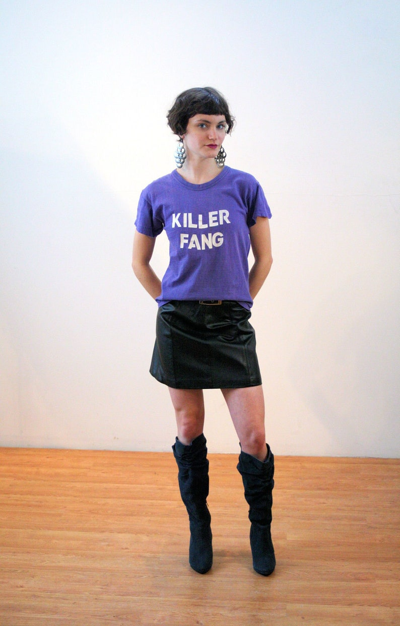 52ad0a105 90s Black Leather Mini Skirt S Deadstock Vintage Biker Belted   Etsy