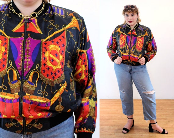 80s Baroque Bomber L XL, Colorful Satin Vintage Mu
