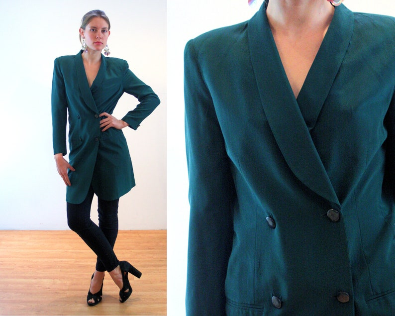 cf88430708e 90s Hugo Buscati Silk Coat Dress S Dark Green Double Breasted