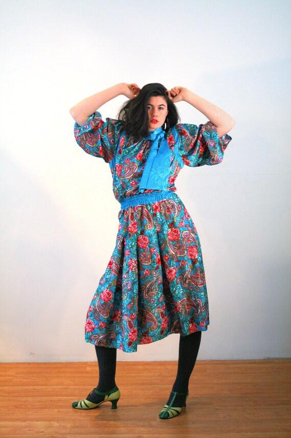 80s Diane Freis Dress M, Colorful Floral Vintage B