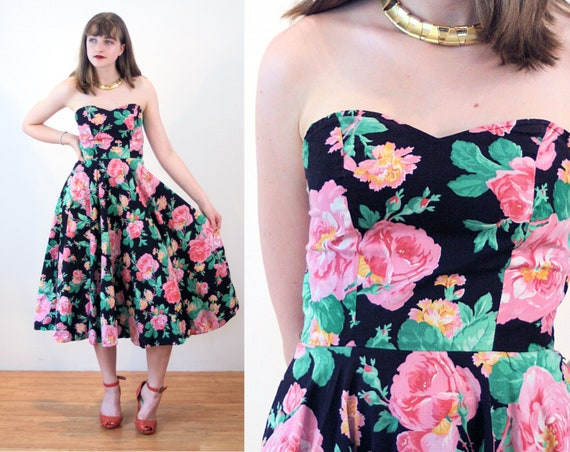 80s Strapless Party Dress S, Rose Print Floral 50s