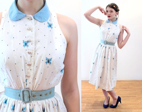 50s Butterfly Dress XS, Vintage White Blue Embroid